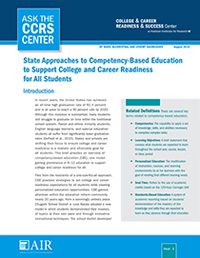 State Approaches to Competency-Based Education to Support College and Career Readiness for All Students