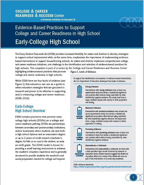Evidence-Based Practices Supporting College and Career Readiness in High School: Early College High School