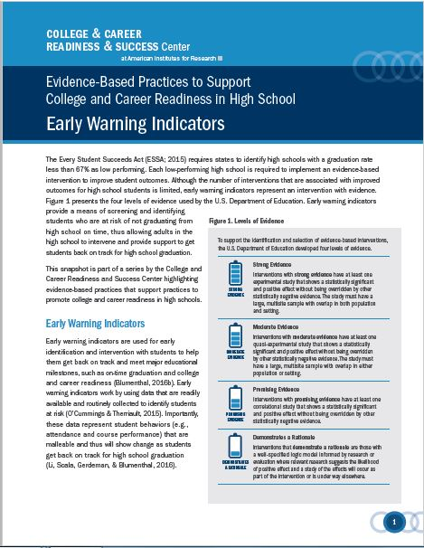 Evidence-Based Practices Supporting College and Career Readiness in High School: Early Warning Indicators